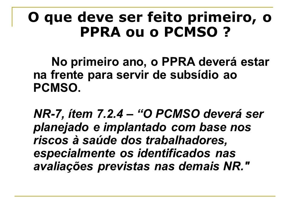 O que deve ser feito primeiro, o PPRA ou o PCMSO ? No primeiro ano, o PPRA deverá estar na frente para servir de subsídio ao PCMSO. NR-7, ítem 7.2.4 –