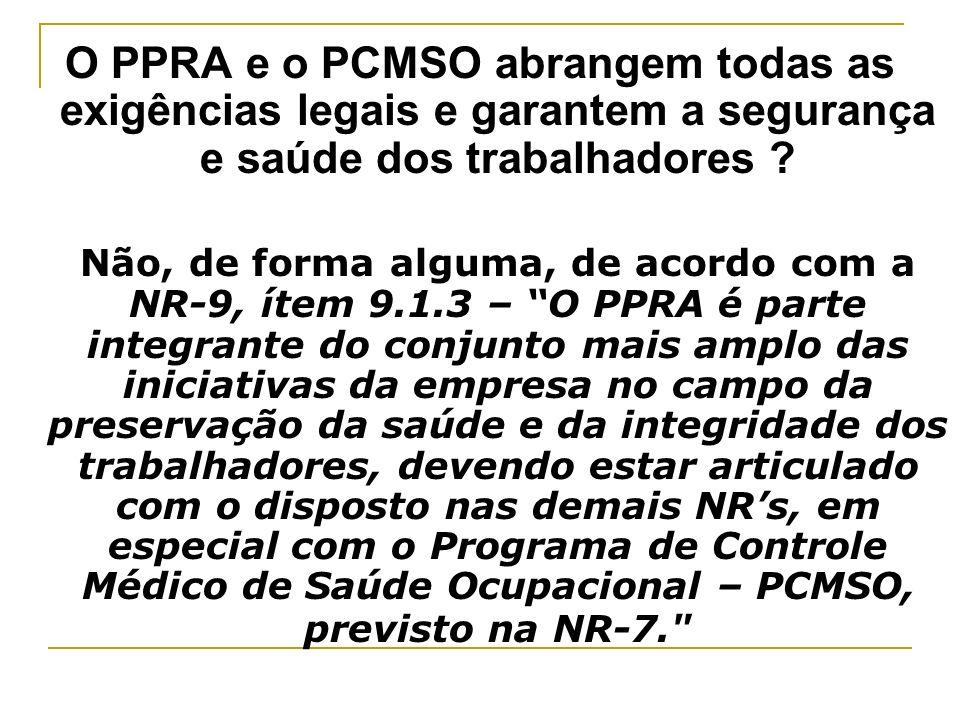 O PPRA e o PCMSO abrangem todas as exigências legais e garantem a segurança e saúde dos trabalhadores ? Não, de forma alguma, de acordo com a NR-9, ít