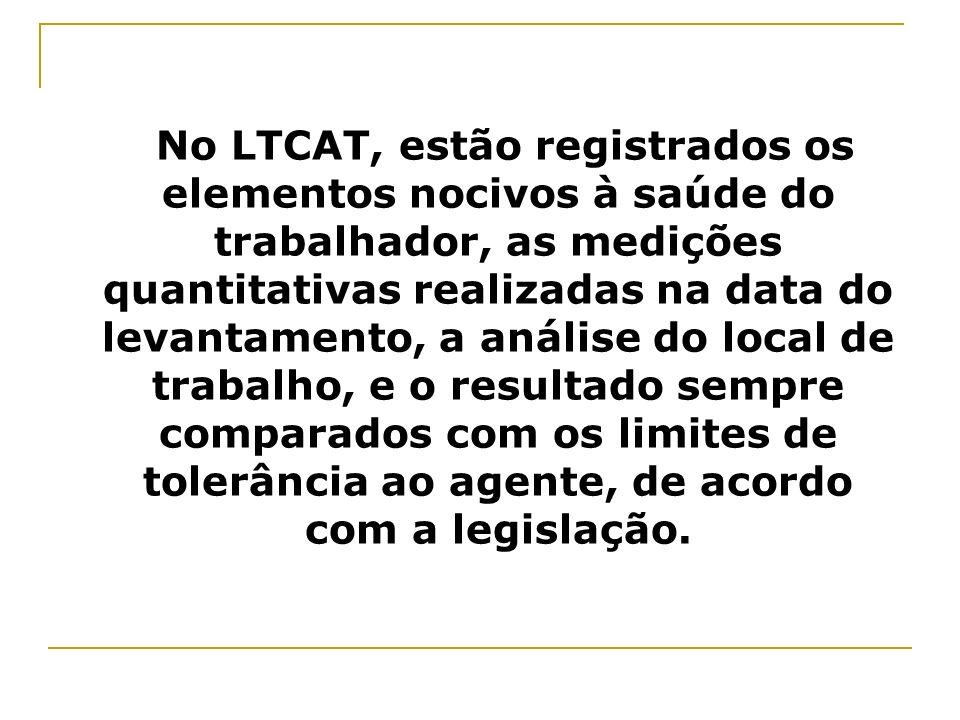 No LTCAT, estão registrados os elementos nocivos à saúde do trabalhador, as medições quantitativas realizadas na data do levantamento, a análise do lo