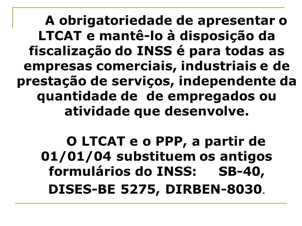 A obrigatoriedade de apresentar o LTCAT e mantê-lo à disposição da fiscalização do INSS é para todas as empresas comerciais, industriais e de prestaçã