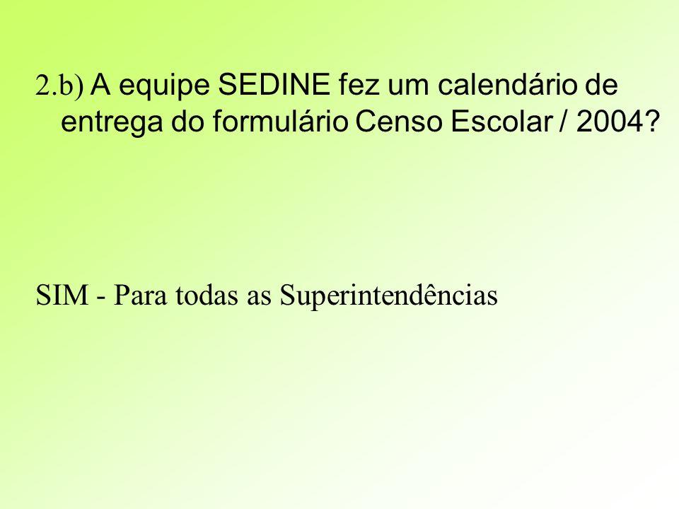 2.b) A equipe SEDINE fez um calendário de entrega do formulário Censo Escolar / 2004.