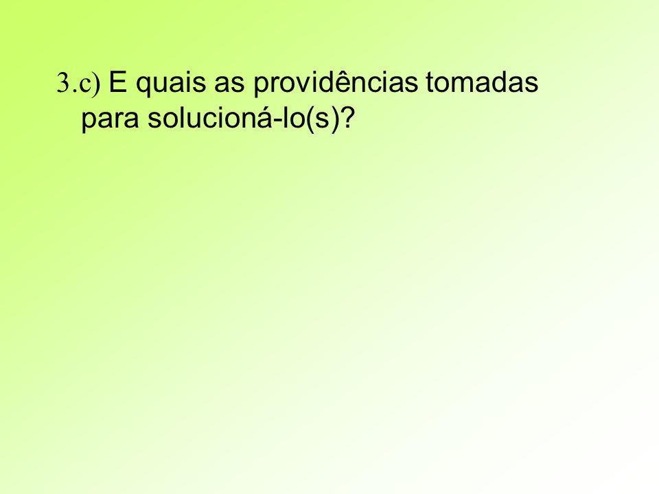 3.c) E quais as providências tomadas para solucioná-lo(s)