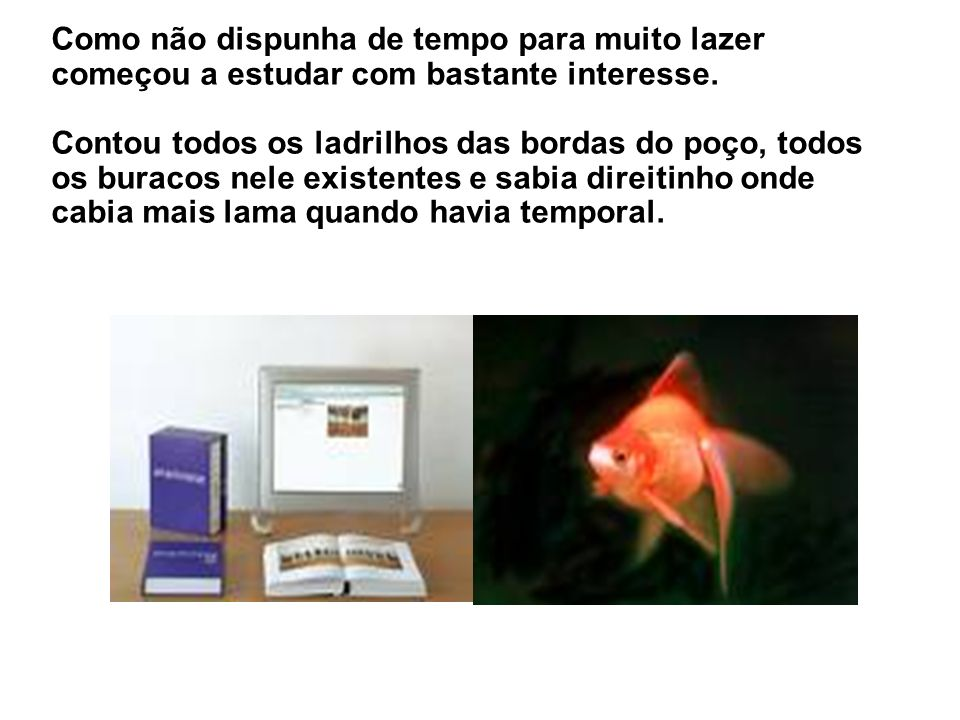 Os outros, gulosos e gorduchos ocupavam todos os lugares de descanso e comiam os alimentos existentes. O peixinho vermelho que nadasse e sofresse ! Po