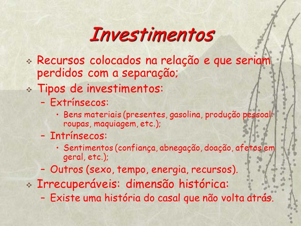 Investimentos Recursos colocados na relação e que seriam perdidos com a separação; Tipos de investimentos: –Extrínsecos: Bens materiais (presentes, ga