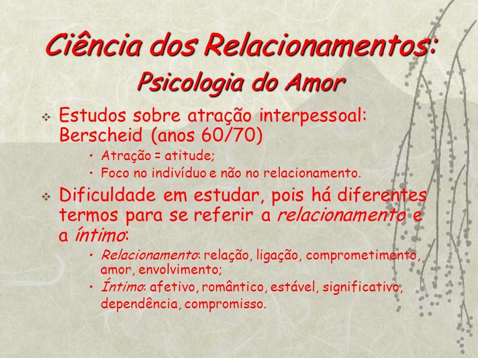 Ciência dos Relacionamentos: Psicologia do Amor Estudos sobre atração interpessoal: Berscheid (anos 60/70) Atração = atitude; Foco no indivíduo e não