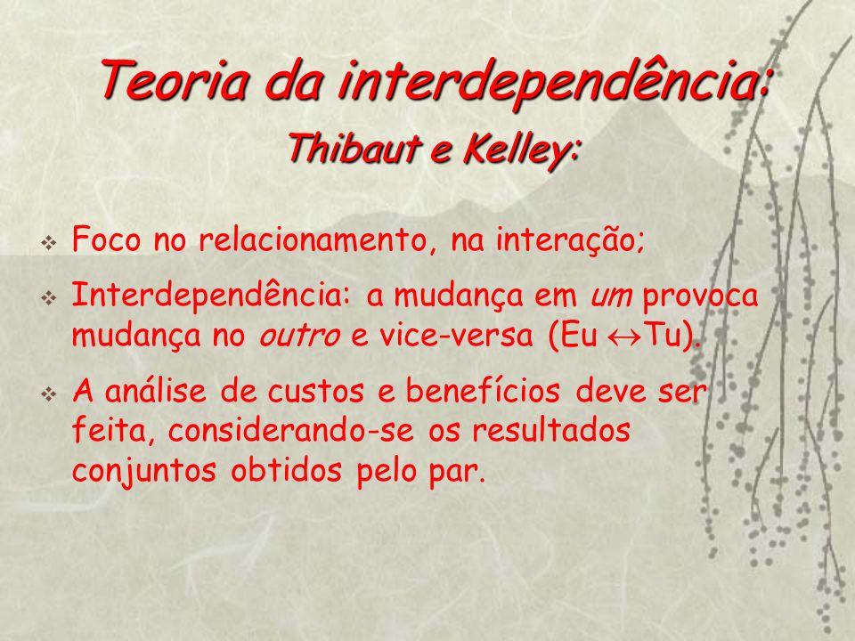 Teoria da interdependência: Thibaut e Kelley: Foco no relacionamento, na interação; Interdependência: a mudança em um provoca mudança no outro e vice-