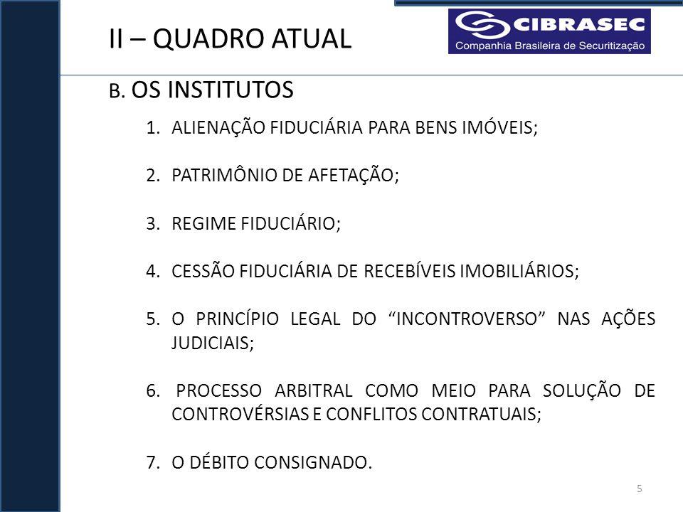 II – QUADRO ATUAL B. OS INSTITUTOS 1.ALIENAÇÃO FIDUCIÁRIA PARA BENS IMÓVEIS; 2.PATRIMÔNIO DE AFETAÇÃO; 3.REGIME FIDUCIÁRIO; 4.CESSÃO FIDUCIÁRIA DE REC