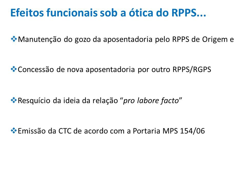 Efeitos funcionais sob a ótica do RPPS... Manutenção do gozo da aposentadoria pelo RPPS de Origem e Concessão de nova aposentadoria por outro RPPS/RGP
