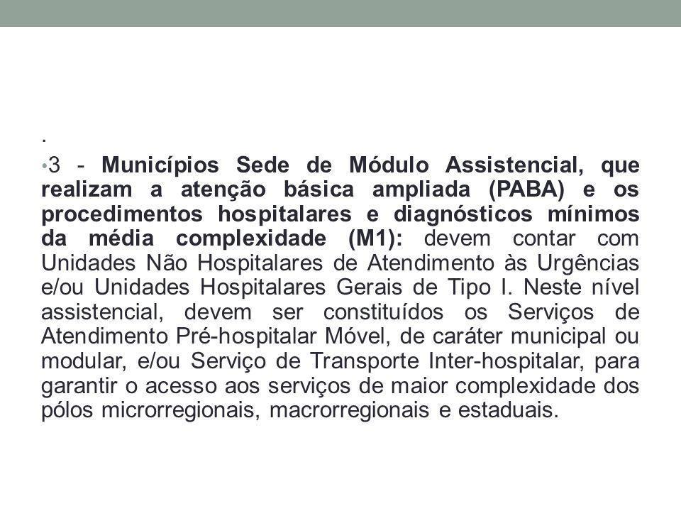 . 3 - Municípios Sede de Módulo Assistencial, que realizam a atenção básica ampliada (PABA) e os procedimentos hospitalares e diagnósticos mínimos da