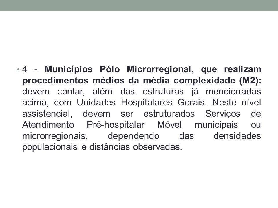 4 - Municípios Pólo Microrregional, que realizam procedimentos médios da média complexidade (M2): devem contar, além das estruturas já mencionadas aci