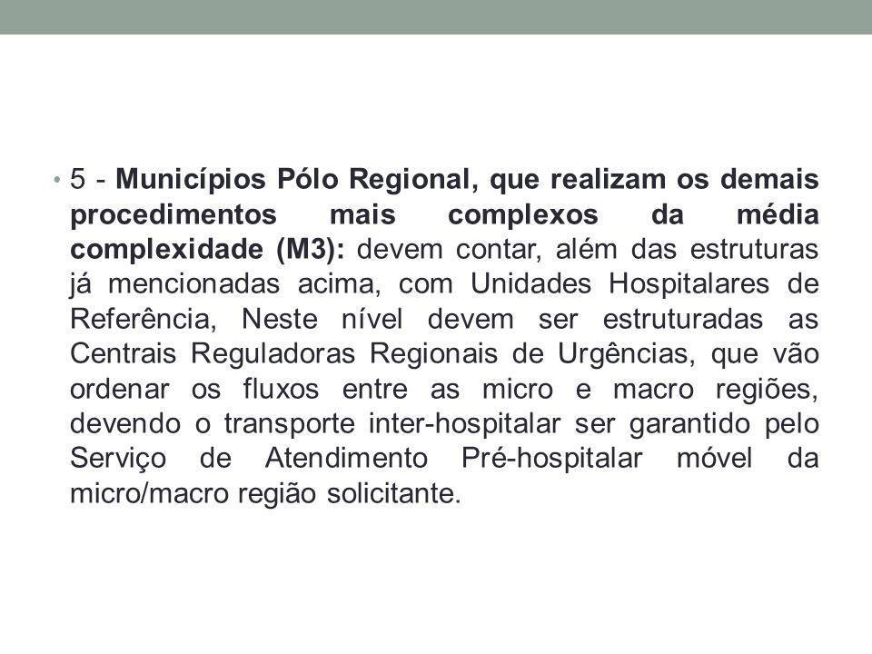 5 - Municípios Pólo Regional, que realizam os demais procedimentos mais complexos da média complexidade (M3): devem contar, além das estruturas já men