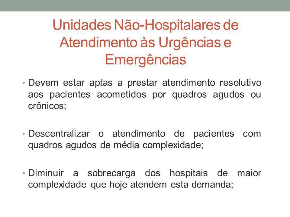 Unidades Não-Hospitalares de Atendimento às Urgências e Emergências Devem estar aptas a prestar atendimento resolutivo aos pacientes acometidos por qu
