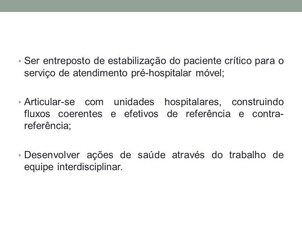 Ser entreposto de estabilização do paciente crítico para o serviço de atendimento pré-hospitalar móvel; Articular-se com unidades hospitalares, constr