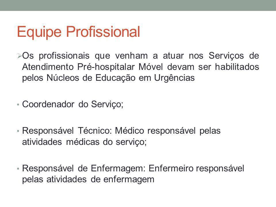 Equipe Profissional Os profissionais que venham a atuar nos Serviços de Atendimento Pré-hospitalar Móvel devam ser habilitados pelos Núcleos de Educaç
