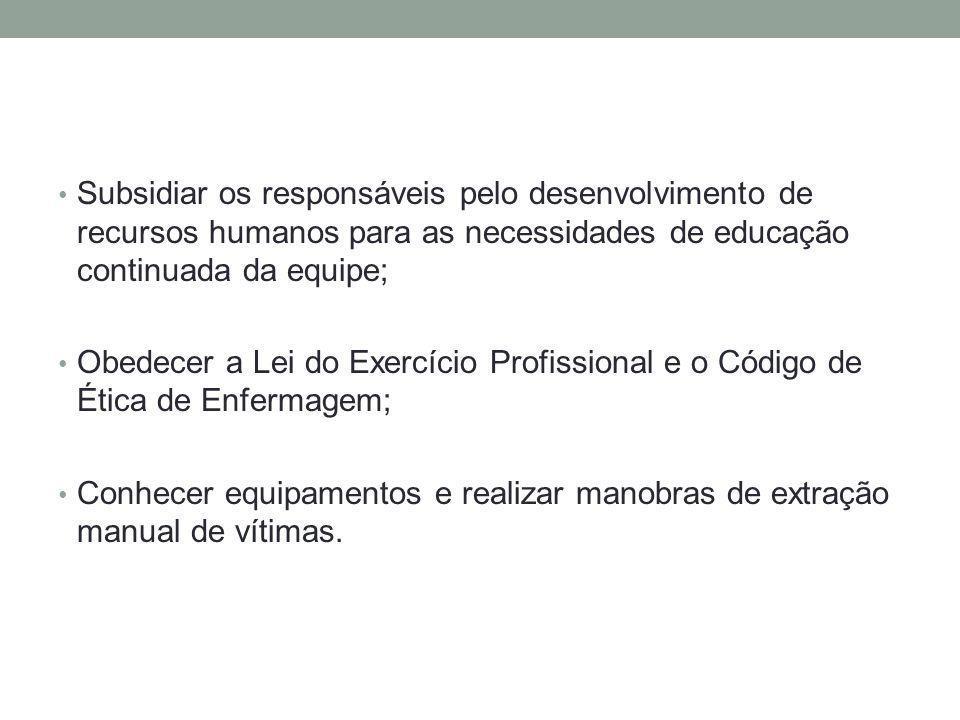 Subsidiar os responsáveis pelo desenvolvimento de recursos humanos para as necessidades de educação continuada da equipe; Obedecer a Lei do Exercício