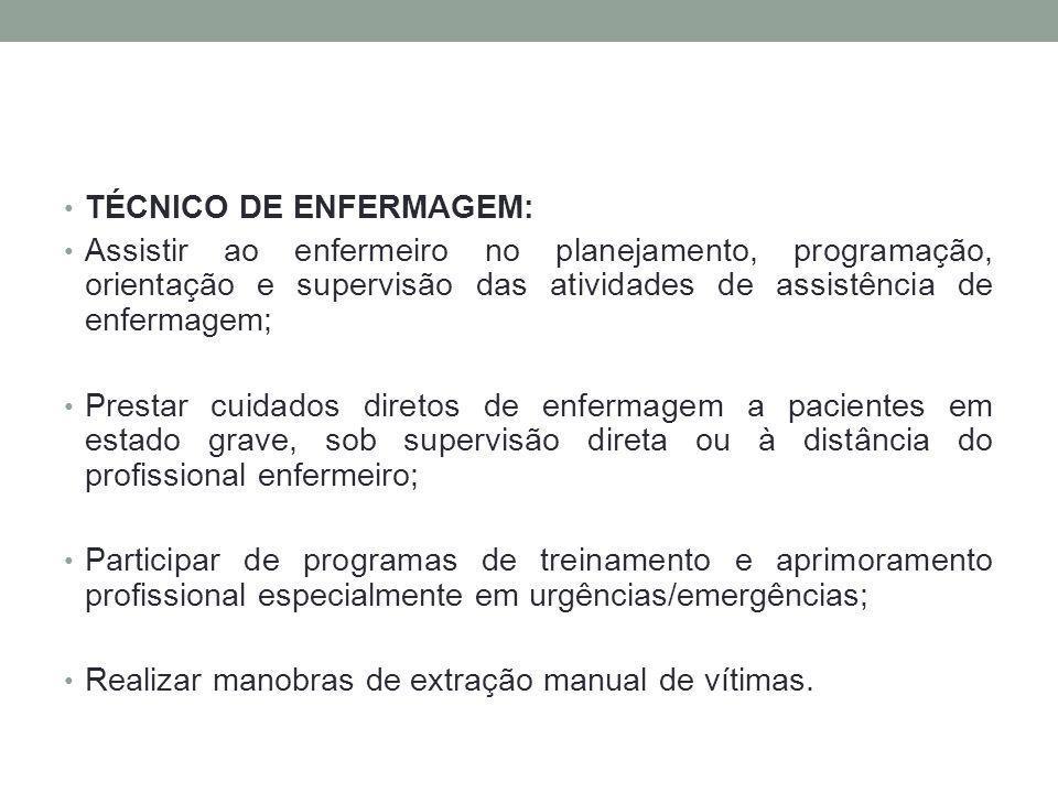 TÉCNICO DE ENFERMAGEM: Assistir ao enfermeiro no planejamento, programação, orientação e supervisão das atividades de assistência de enfermagem; Prest