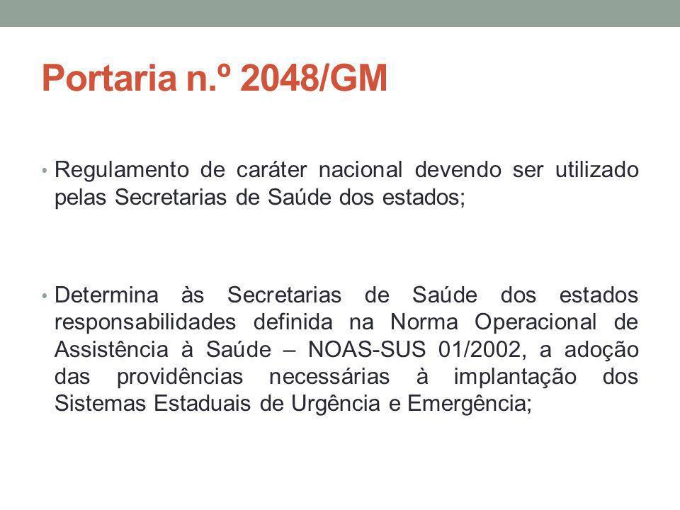Portaria n.º 2048/GM Regulamento de caráter nacional devendo ser utilizado pelas Secretarias de Saúde dos estados; Determina às Secretarias de Saúde d