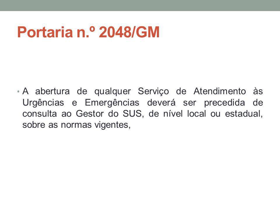 Portaria n.º 2048/GM A abertura de qualquer Serviço de Atendimento às Urgências e Emergências deverá ser precedida de consulta ao Gestor do SUS, de ní