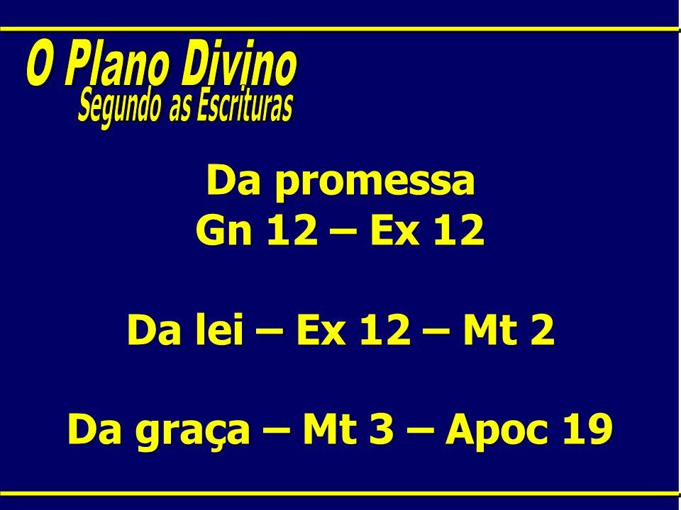 Da promessa Gn 12 – Ex 12 Da lei – Ex 12 – Mt 2 Da graça – Mt 3 – Apoc 19