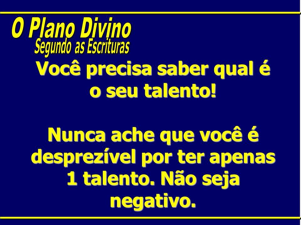 Você precisa saber qual é o seu talento! Nunca ache que você é desprezível por ter apenas 1 talento. Não seja negativo.