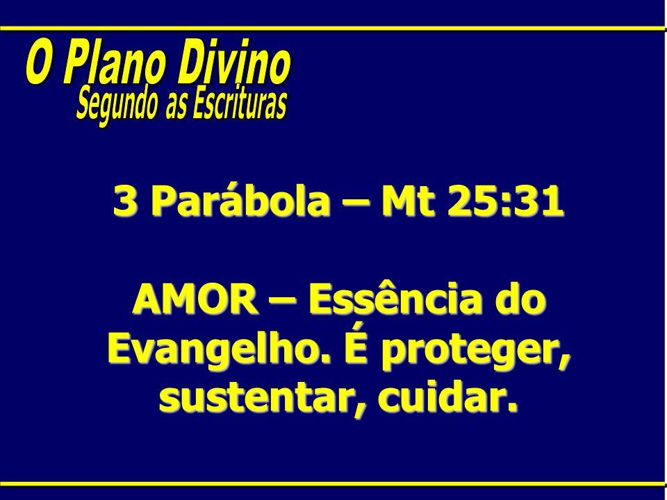 3 Parábola – Mt 25:31 AMOR – Essência do Evangelho. É proteger, sustentar, cuidar.