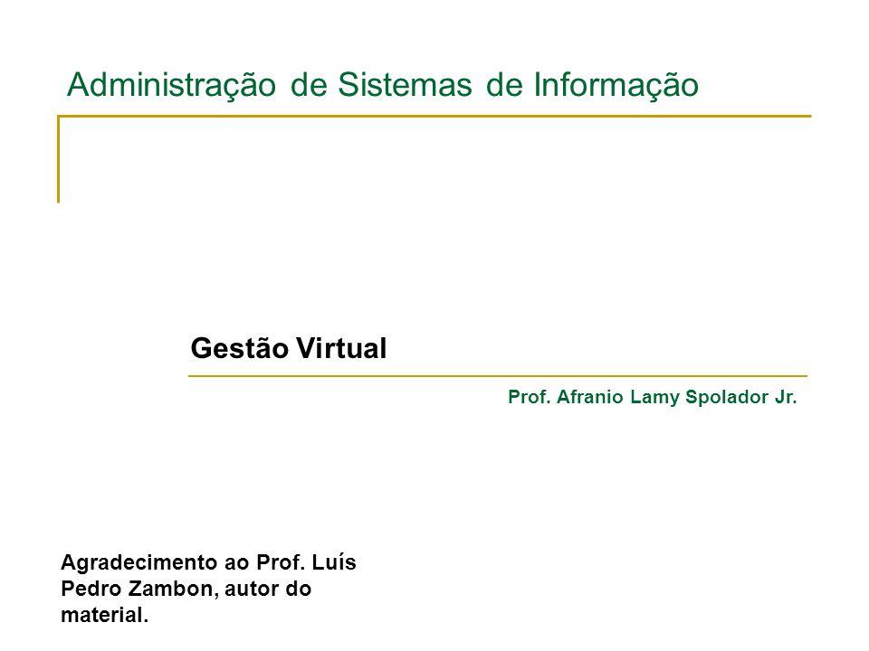 Administração de Sistemas de Informação Gestão Virtual Prof. Afranio Lamy Spolador Jr. Agradecimento ao Prof. Luís Pedro Zambon, autor do material.