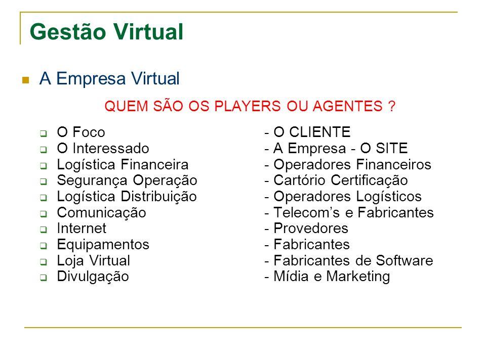 Gestão Virtual A Empresa Virtual QUEM SÃO OS PLAYERS OU AGENTES ? O Foco- O CLIENTE O Interessado- A Empresa - O SITE Logística Financeira- Operadores