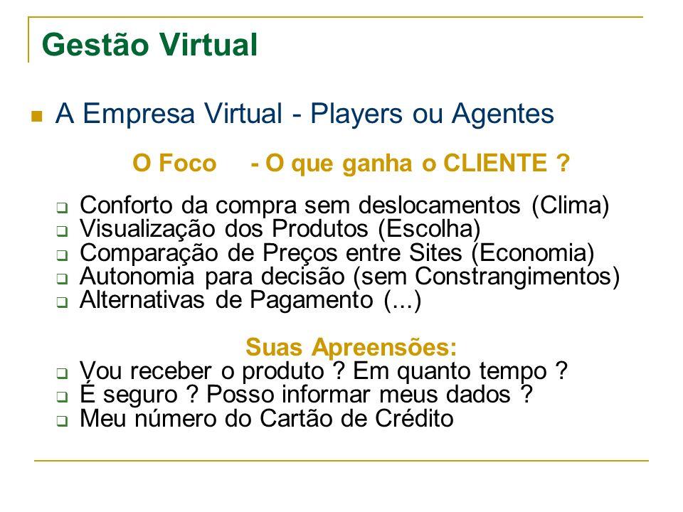 Gestão Virtual A Empresa Virtual - Players ou Agentes O Foco - O que ganha o CLIENTE ? Conforto da compra sem deslocamentos (Clima) Visualização dos P
