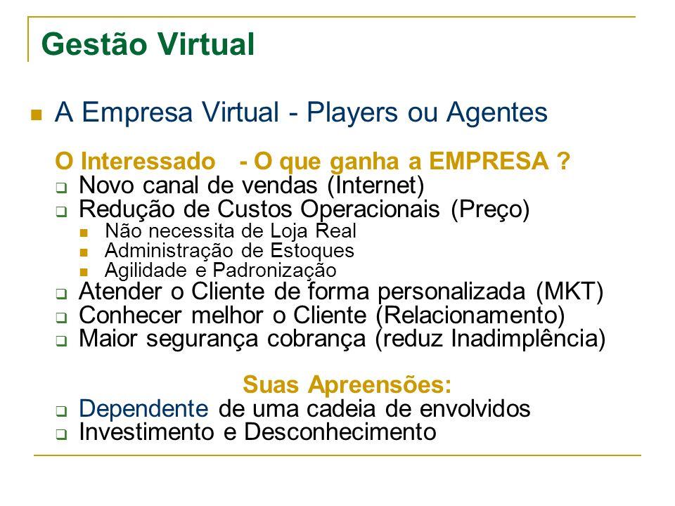 Gestão Virtual A Empresa Virtual - Players ou Agentes O Interessado - O que ganha a EMPRESA ? Novo canal de vendas (Internet) Redução de Custos Operac
