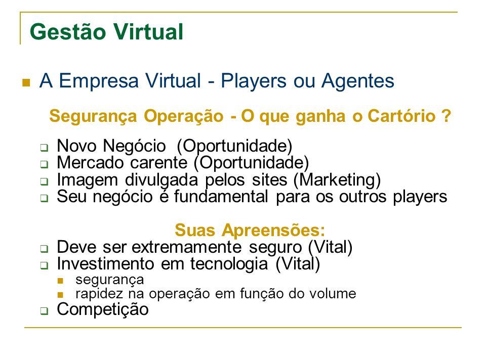Gestão Virtual A Empresa Virtual - Players ou Agentes Segurança Operação - O que ganha o Cartório ? Novo Negócio (Oportunidade) Mercado carente (Oport