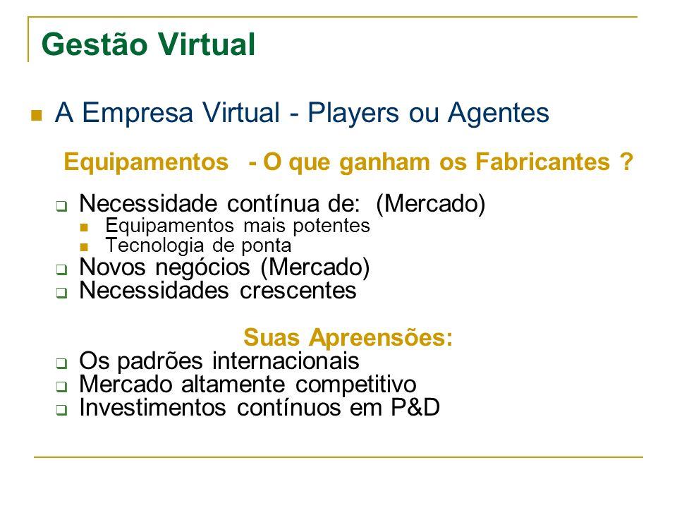 Gestão Virtual A Empresa Virtual - Players ou Agentes Equipamentos - O que ganham os Fabricantes ? Necessidade contínua de: (Mercado) Equipamentos mai