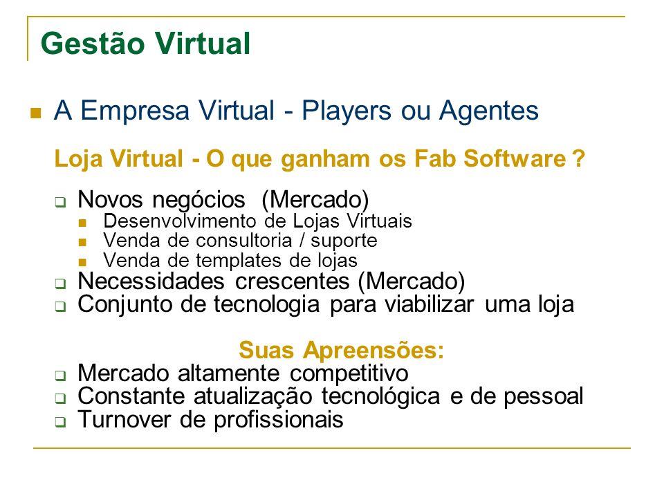 Gestão Virtual A Empresa Virtual - Players ou Agentes Loja Virtual - O que ganham os Fab Software ? Novos negócios (Mercado) Desenvolvimento de Lojas
