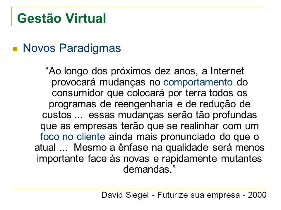 Gestão Virtual Novos Paradigmas Ao longo dos próximos dez anos, a Internet provocará mudanças no comportamento do consumidor que colocará por terra to