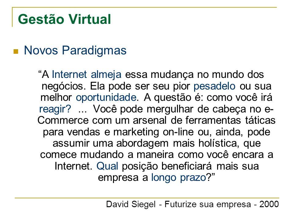 Gestão Virtual Novos Paradigmas A Internet almeja essa mudança no mundo dos negócios. Ela pode ser seu pior pesadelo ou sua melhor oportunidade. A que