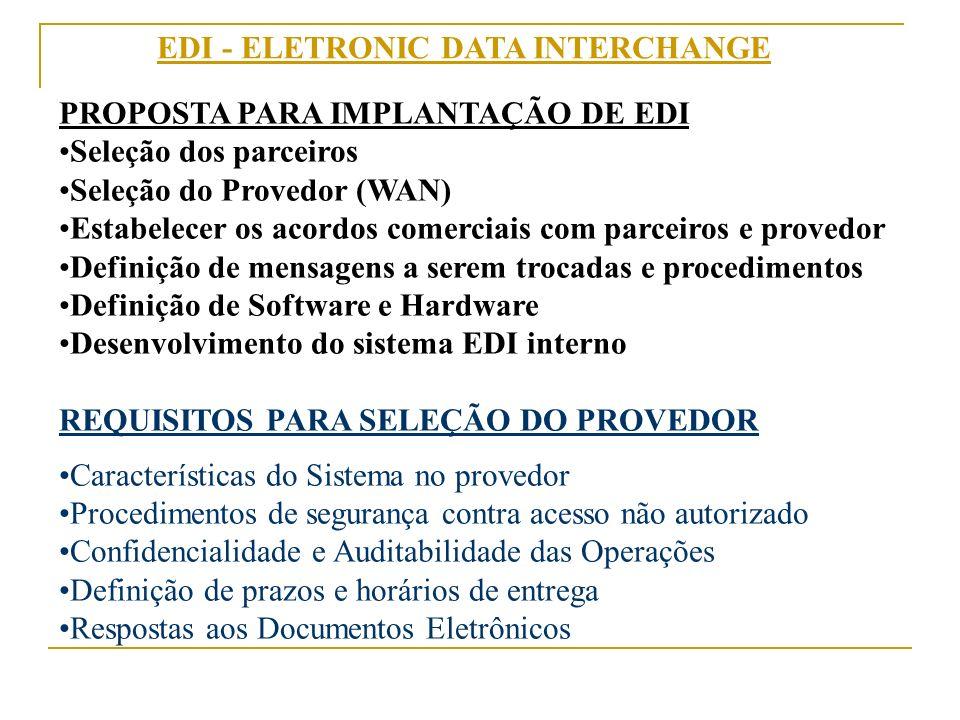 EDI - ELETRONIC DATA INTERCHANGE PROPOSTA PARA IMPLANTAÇÃO DE EDI Seleção dos parceiros Seleção do Provedor (WAN) Estabelecer os acordos comerciais co