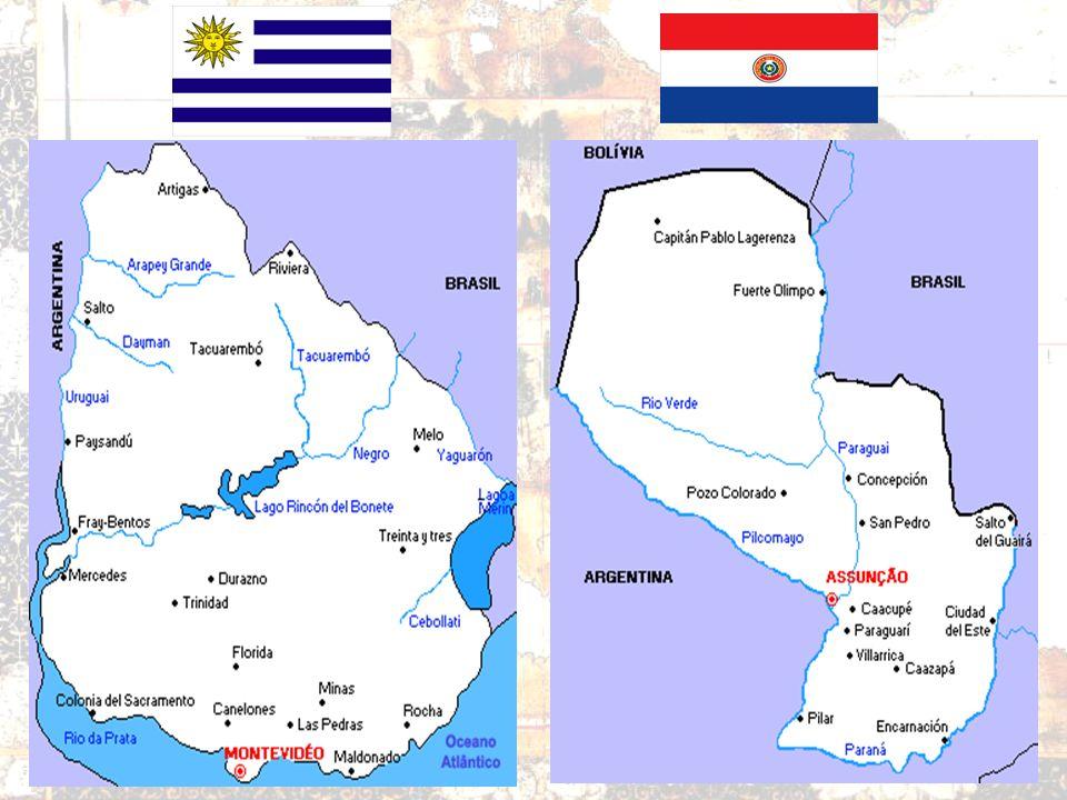 PLATINOS Bacia do Prata Paraguai: País insulado –Instabilidade População ameríndia –(GUARANIS) Soja Algodão Energia Pecuária Extensiva Brasiguaios Com