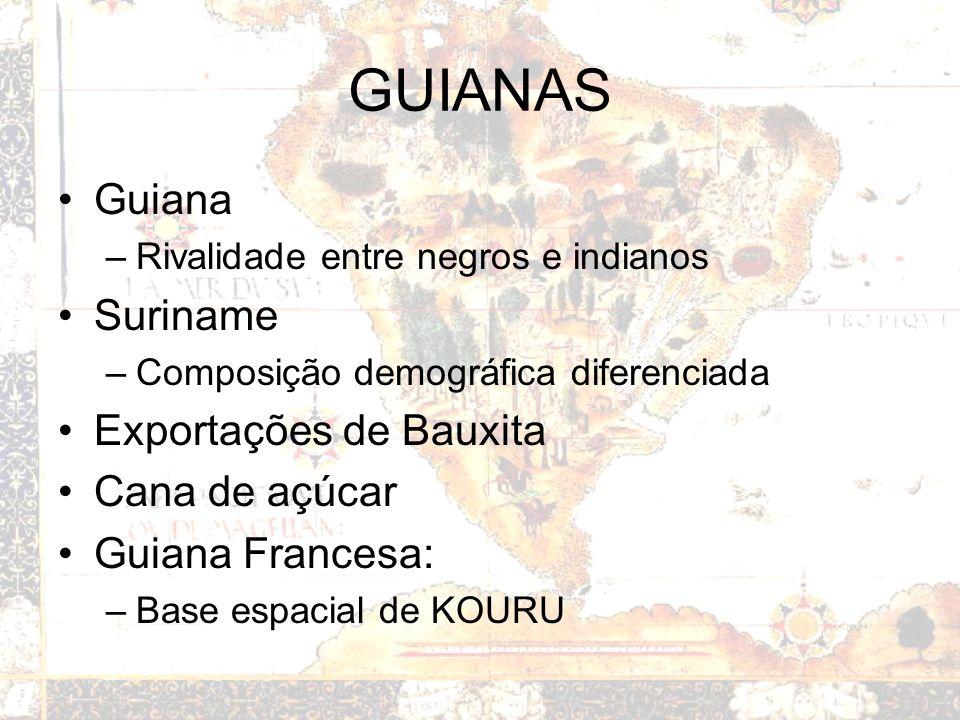 GUIANAS Guiana –Rivalidade entre negros e indianos Suriname –Composição demográfica diferenciada Exportações de Bauxita Cana de açúcar Guiana Francesa: –Base espacial de KOURU