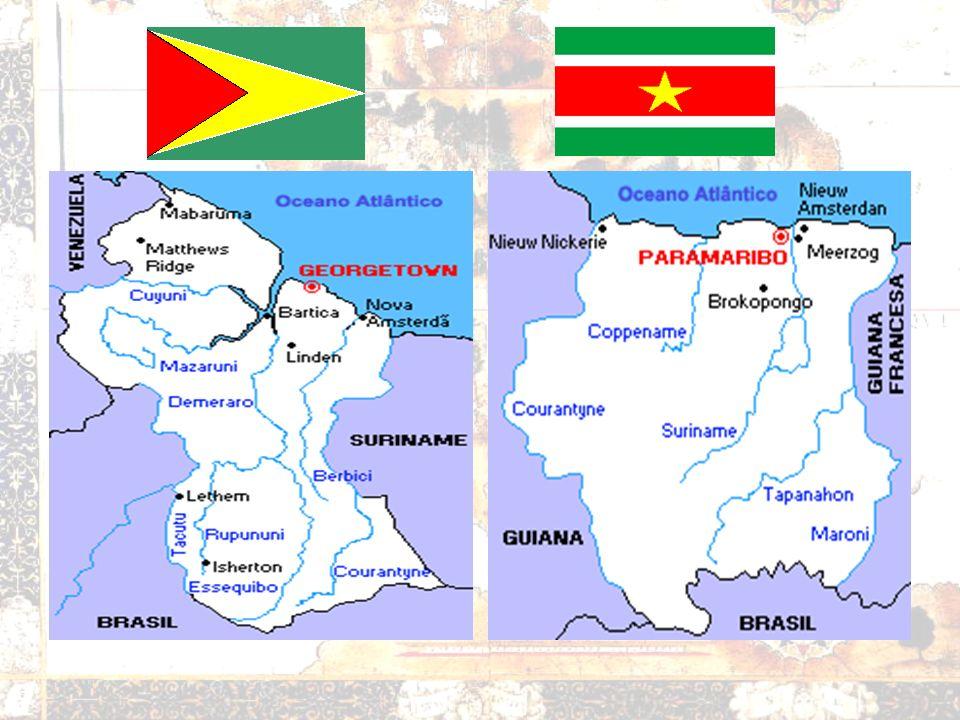 GUIANAS Guiana –Rivalidade entre negros e indianos Suriname –Composição demográfica diferenciada Exportações de Bauxita Cana de açúcar Guiana Francesa