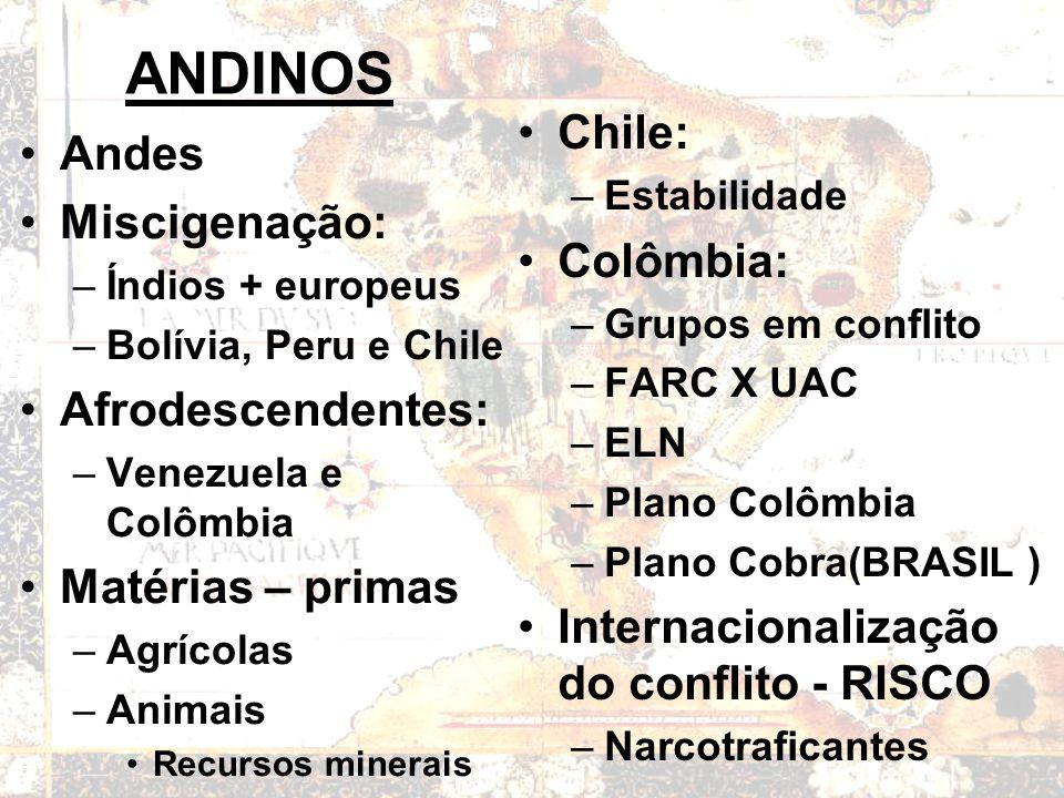 ANDINOS Andes Miscigenação: –Índios + europeus –Bolívia, Peru e Chile Afrodescendentes: –Venezuela e Colômbia Matérias – primas –Agrícolas –Animais Recursos minerais Chile: –Estabilidade Colômbia: –Grupos em conflito –FARC X UAC –ELN –Plano Colômbia –Plano Cobra(BRASIL ) Internacionalização do conflito - RISCO –Narcotraficantes
