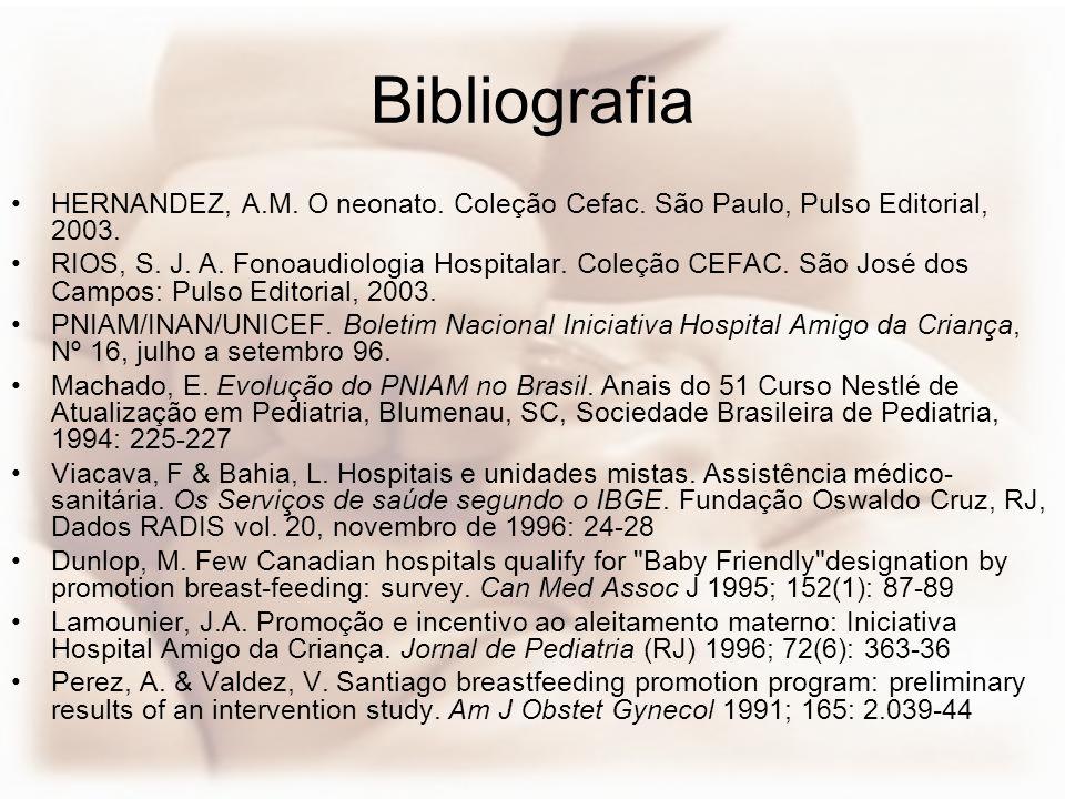 Bibliografia HERNANDEZ, A.M. O neonato. Coleção Cefac. São Paulo, Pulso Editorial, 2003. RIOS, S. J. A. Fonoaudiologia Hospitalar. Coleção CEFAC. São