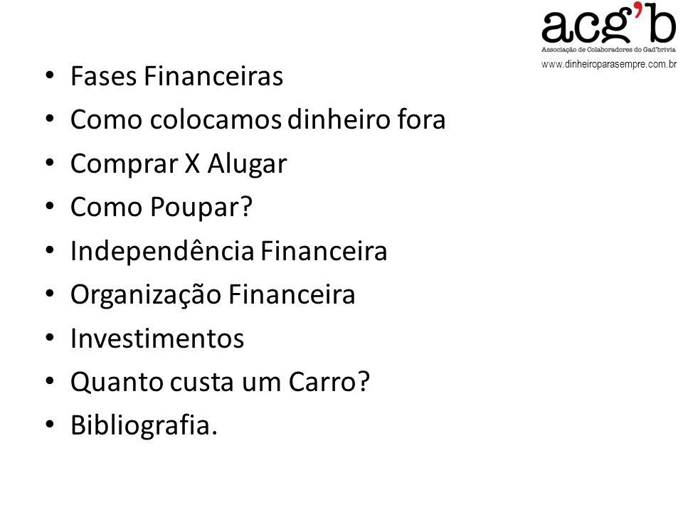 www.dinheiroparasempre.com.br Fases Financeiras Como colocamos dinheiro fora Comprar X Alugar Como Poupar? Independência Financeira Organização Financ