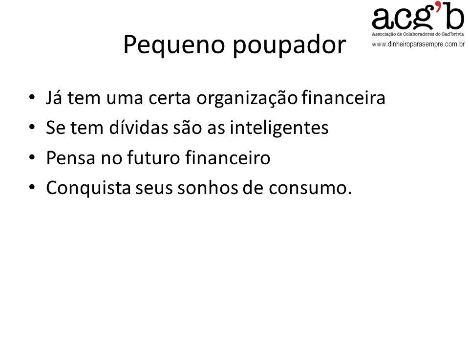 www.dinheiroparasempre.com.br Pequeno poupador Já tem uma certa organização financeira Se tem dívidas são as inteligentes Pensa no futuro financeiro C