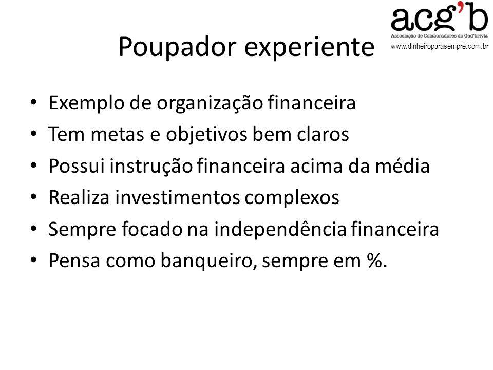 www.dinheiroparasempre.com.br Poupador experiente Exemplo de organização financeira Tem metas e objetivos bem claros Possui instrução financeira acima