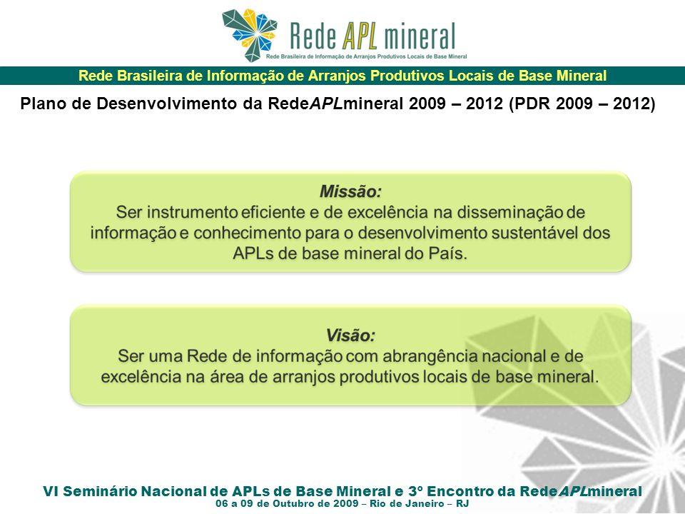 Rede Brasileira de Informação de Arranjos Produtivos Locais de Base Mineral VI Seminário Nacional de APLs de Base Mineral e 3º Encontro da RedeAPLmineral 06 a 09 de Outubro de 2009 – Rio de Janeiro – RJ Plano de Desenvolvimento da RedeAPLmineral 2009 – 2012 (PDR 2009 – 2012)