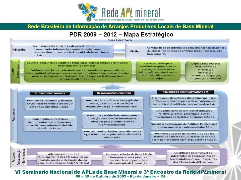 Rede Brasileira de Informação de Arranjos Produtivos Locais de Base Mineral VI Seminário Nacional de APLs de Base Mineral e 3º Encontro da RedeAPLmineral 06 a 09 de Outubro de 2009 – Rio de Janeiro – RJ P PDR 2009 – 2012 – Mapa Estratégico