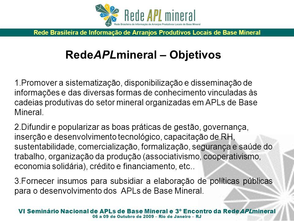 Rede Brasileira de Informação de Arranjos Produtivos Locais de Base Mineral VI Seminário Nacional de APLs de Base Mineral e 3º Encontro da RedeAPLmineral 06 a 09 de Outubro de 2009 – Rio de Janeiro – RJ Estrutura e organização