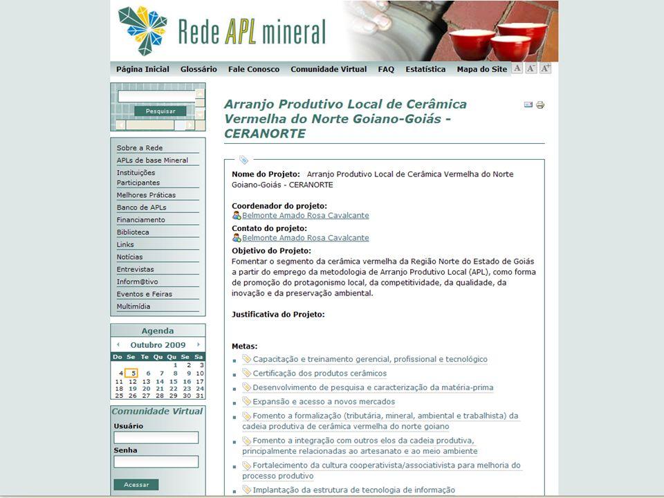 Rede Brasileira de Informação de Arranjos Produtivos Locais de Base Mineral VI Seminário Nacional de APLs de Base Mineral e 3º Encontro da RedeAPLmineral 06 a 09 de Outubro de 2009 – Rio de Janeiro – RJ NOMEINSTITUIÇÃOE-MAILTELEFONE Elzivir Azevedo GuerraMCT/SETECeguerra@mct.gov.br(61) 3317-8123 Tássia de Melo ArraesMCT/SETECtassia.arraes@mct.gov.br(61) 3317-7921 José Marcos F.