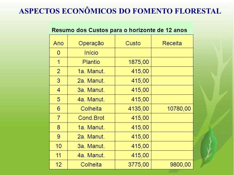 ASPECTOS ECONÔMICOS DO FOMENTO FLORESTAL Resumo dos Custos para o horizonte de 12 anos AnoOperaçãoCustoReceita 0Início 1Plantio1875,00 21a. Manut.415,