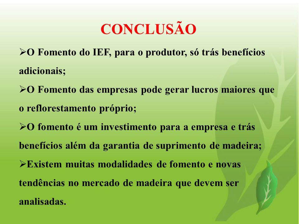O Fomento do IEF, para o produtor, só trás benefícios adicionais; O Fomento das empresas pode gerar lucros maiores que o reflorestamento próprio; O fo