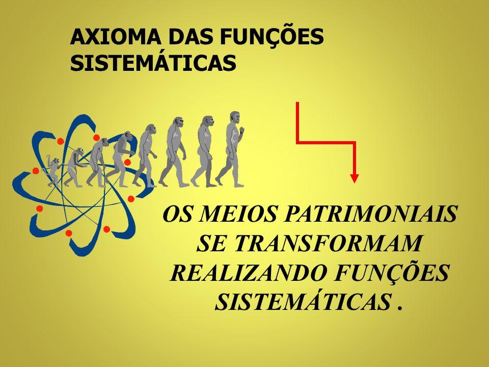 AXIOMA DA TRANSFORMAÇÃO NO PATRIMÔNIO TUDO SE TRANSFORMA DE FORMA CONSTANTE E SISTEMÁTICA, POR EFEITO DE RELAÇÕES LÓGICAS ESSENCIAIS, DIMENSIONAIS E A